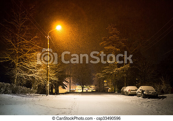 Winter night in a small Russian tow - csp33490596