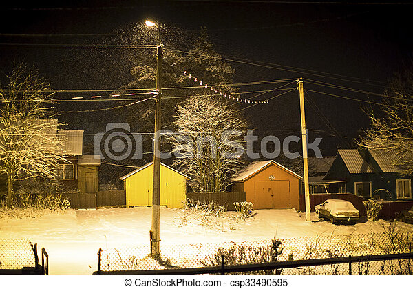 Winter night in small Russian town - csp33490595