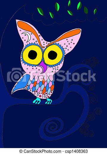 Winter Night Owl - csp1408363
