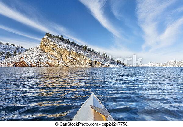winter paddling in Colorado - csp24247758