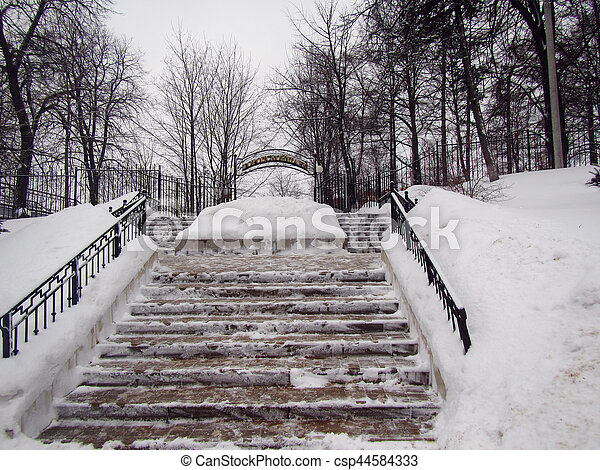 Winter park stairs in small Russian town - csp44584333