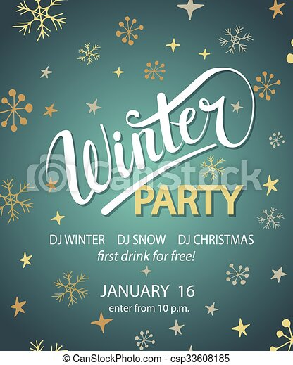 Winter Party Background Design Template