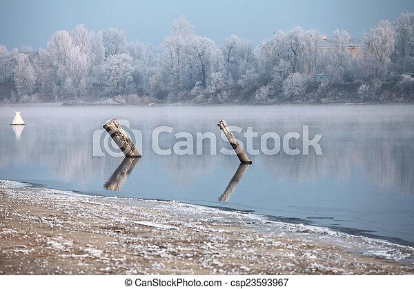 Winter river landscape - csp23593967