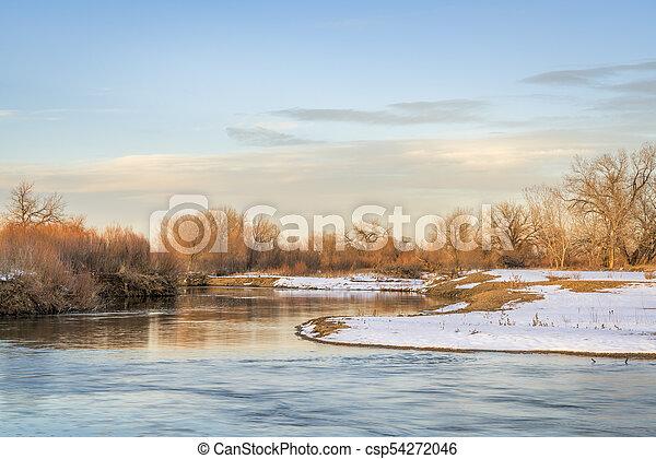 winter river scenery in Colorado - csp54272046