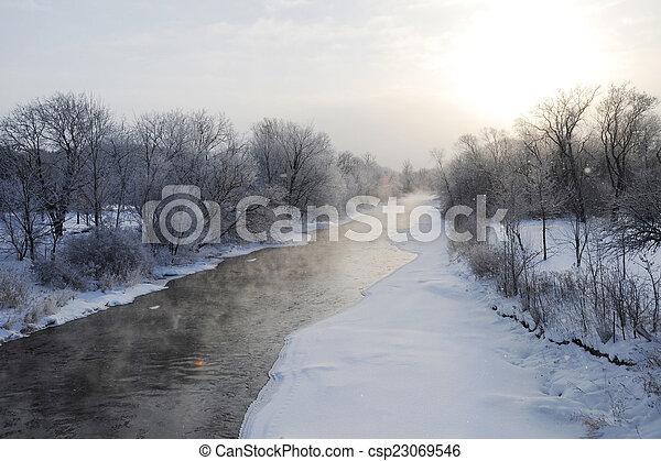 Winter river - csp23069546