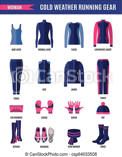 19e18f08e5ee Winter running clothes set for woman in flat style. Winter running ...
