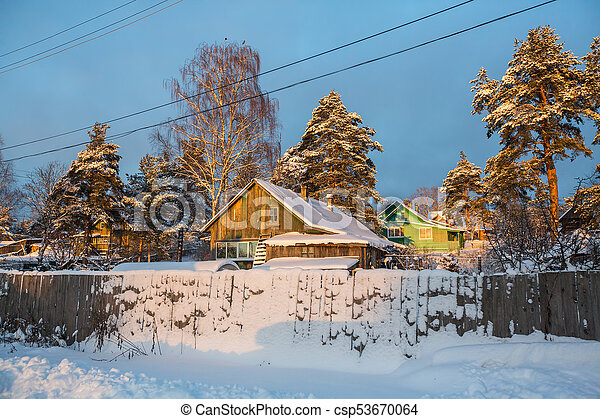 Winter rural landscape in the North-West of Russia. - csp53670064