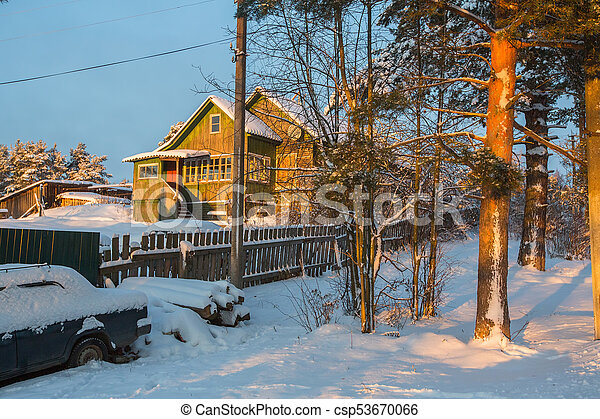 Winter rural landscape in the North-West of Russia. - csp53670066