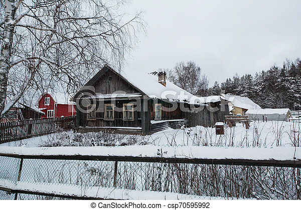 Winter rural landscape in the North-West of Russia. - csp70595992