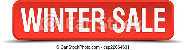 Winter sale red 3d square button isolated on white - csp22664631