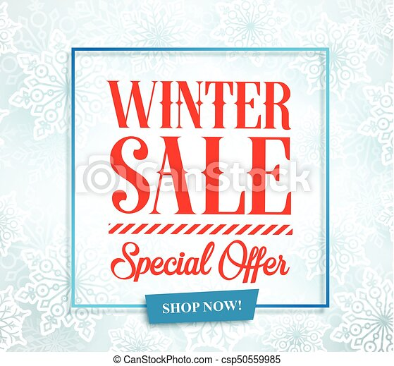 Winter sale vector banner design for season promotion with typography text