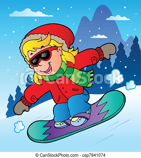 winter scene with girl on snowboard vector illustration rh canstockphoto com snowboard clip art free Snowboarding Cartoon