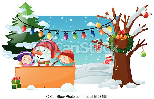 Christmas Scene Drawing For Kids.Winter Scene With Kids And Snowman
