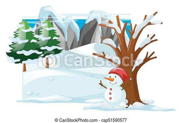 winter scene with snowman on snow illustration vectors illustration rh canstockphoto ca clipart winter scene winter scene clipart pictures