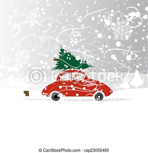 Auto Weihnachtsbaum.Winter Schneesturm Auto Weihnachtsbaum Design Dein