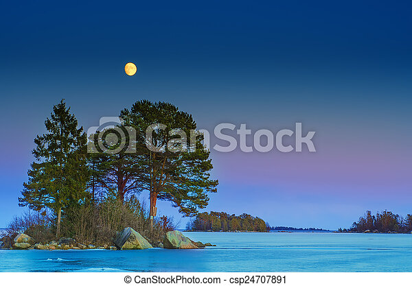 Winter sea landscape with moon - csp24707891