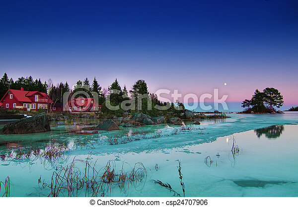 Winter sea landscape with moon - csp24707906