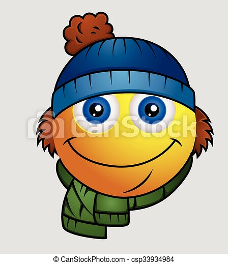 86fa1efaf4ec5 Winter season - cute cartoon emoji smiley character.