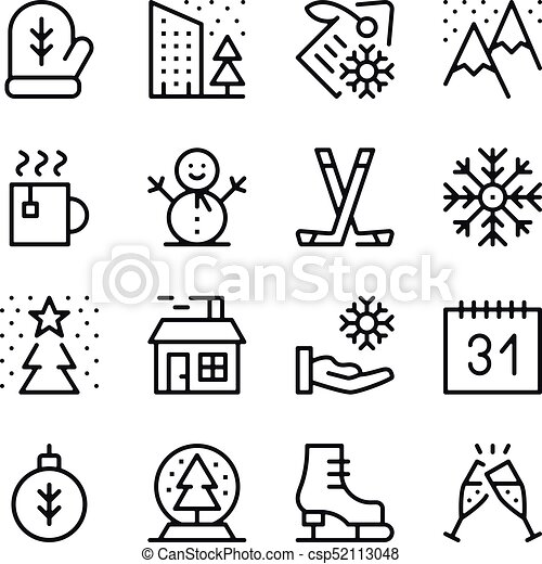 Winter season line icons set  Winter activities, objects, holidays  concepts  Modern graphic design concepts, black simple outline elements  collection