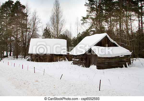 Some wooden structures in village in a winter season