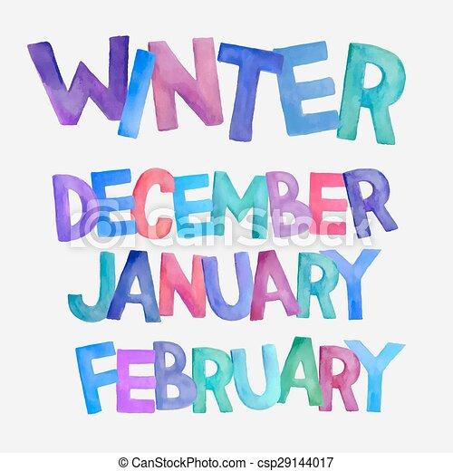 winter season vector watercolor names winter season Free Printable Monthly Calendar Template Free Calendar of Month Clip Art Juner