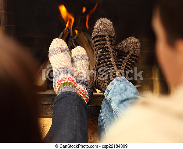 winter, seizoen, paar, kousjes, voorkant, benen, openhaard - csp22184309