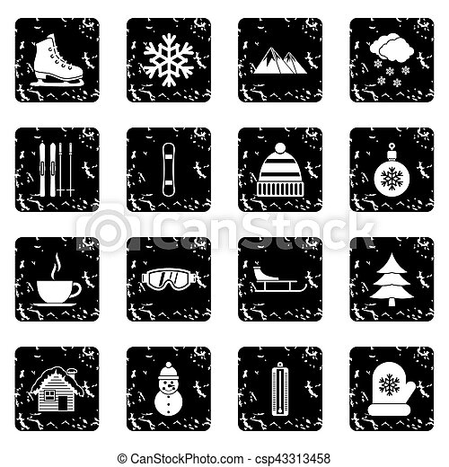 Winter set icons, grunge style - csp43313458