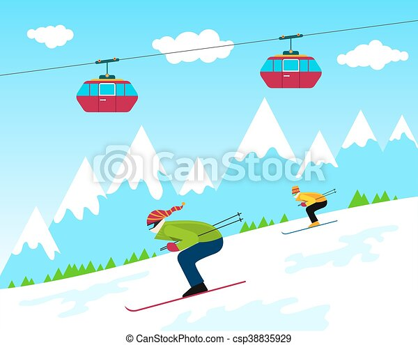 winter ski resort winter time ski resort with people skiing and rh canstockphoto com Ski Trip Clip Art Ski Chair Lift Clip Art