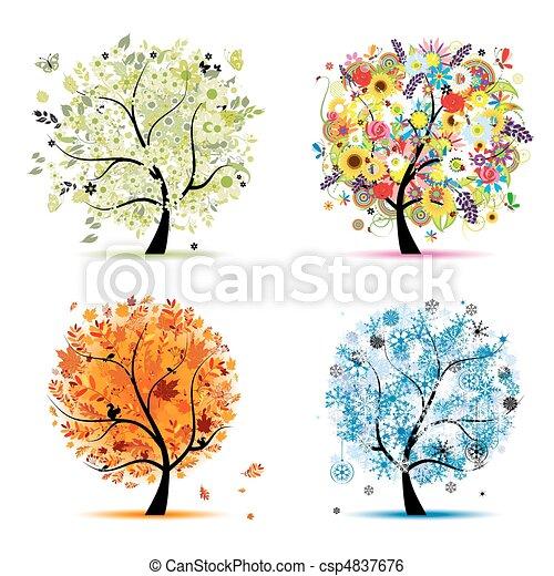winter., smukke, kunst, forår, efterår, -, træ, fire, konstruktion, årstider, din, sommer - csp4837676