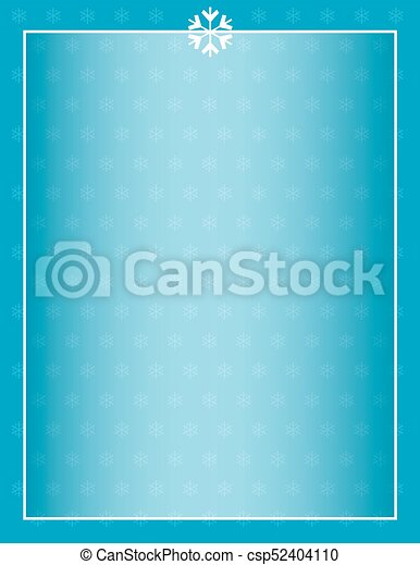 Winter Snowflake Background with Border - csp52404110
