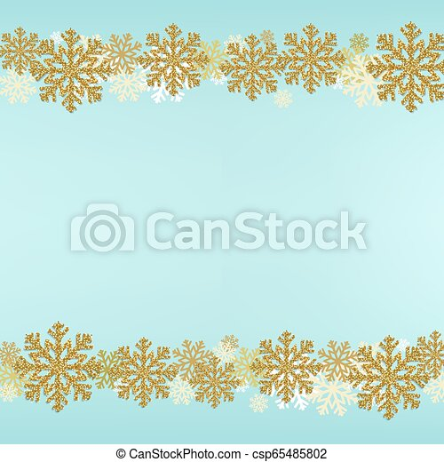 Winter Snowflake Border Blue Background - csp65485802