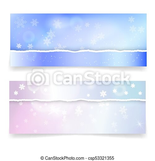 winter snowy banners with realistic torn paper borders snowflakes and lights effects vector