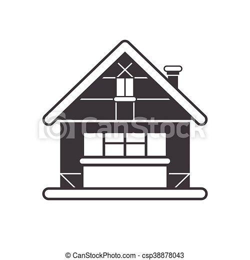 Winter Snowy Cottage Outline Monochrome Icon