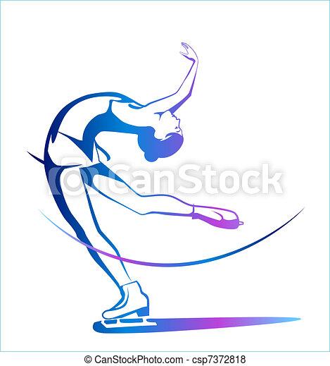 Winter sport. Ladies figure skating.  Ice show. - csp7372818