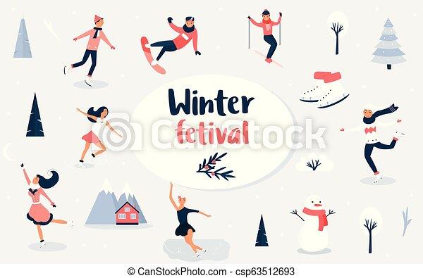 Christmas Festival Scene Drawing.Winter Sport Scene Christmas Event And Festival