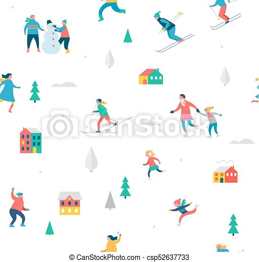 Christmas Festival Scene Drawing.Winter Sport Scene Christmas Festival And Fair Families With Kids Make Fun