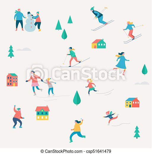 Christmas Festival Scene Drawing.Winter Sport Scene Christmas Street Event Festival And Fair With People Families Make Fun