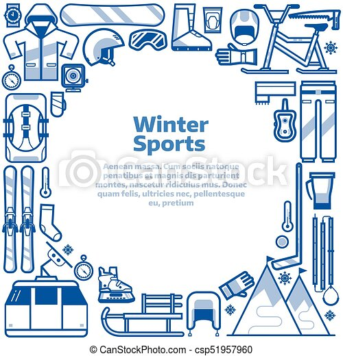 Winter Sports Lifestyle Border Frame Winter Sports Background With Snow Games Elements In Circle With Space For Text Winter