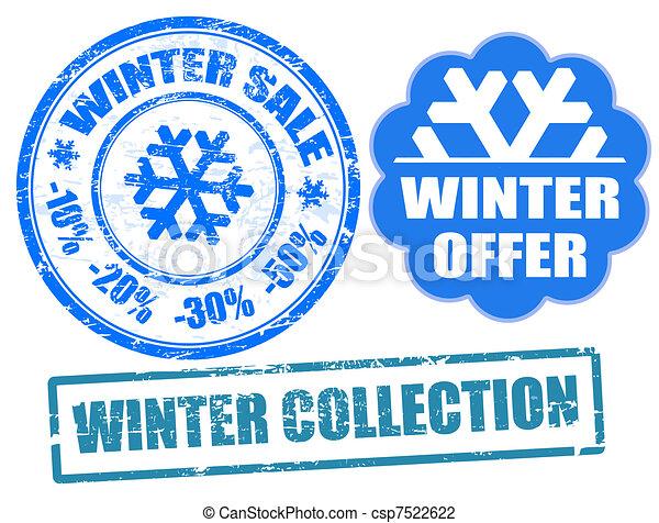 Winter stamps - csp7522622