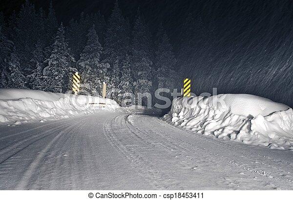 Winter Storm Colorado Road - csp18453411