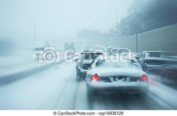 Winter Storm Traffic - csp16936128