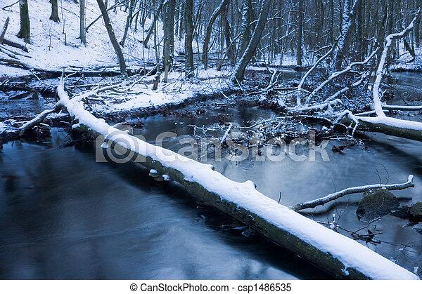 Winter stream - csp1486535