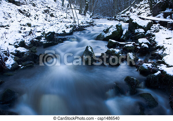Winter stream - csp1486540