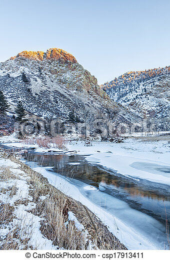 winter sunset in mountains - csp17913411