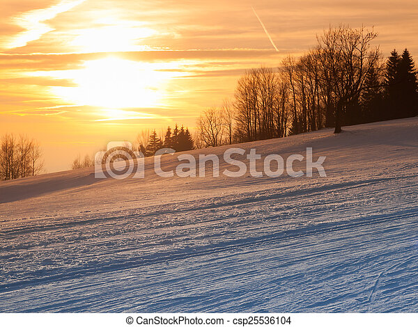 Winter sunset in the mountains - csp25536104