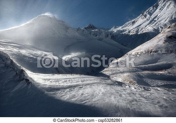 Winter Sunset Over Caucasus Mountains