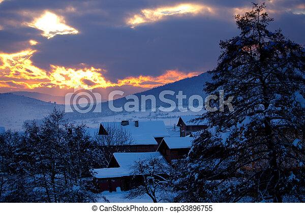 winter sunset - csp33896755