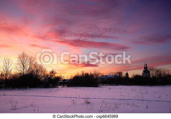 Winter sunset - csp6645989