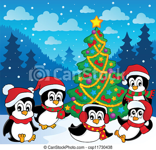 Winter theme with penguins 3 - csp11730438
