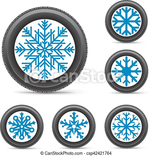 Winter Tire Snowflake Rim The Set Of Winter Inflated Wheels On
